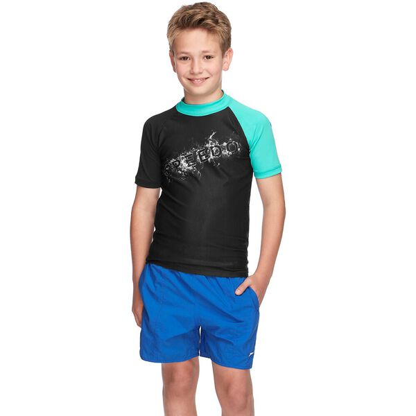 BOYS DISSECT SHORT SLEEVE SUN TOP, Black/Cascade, hi-res