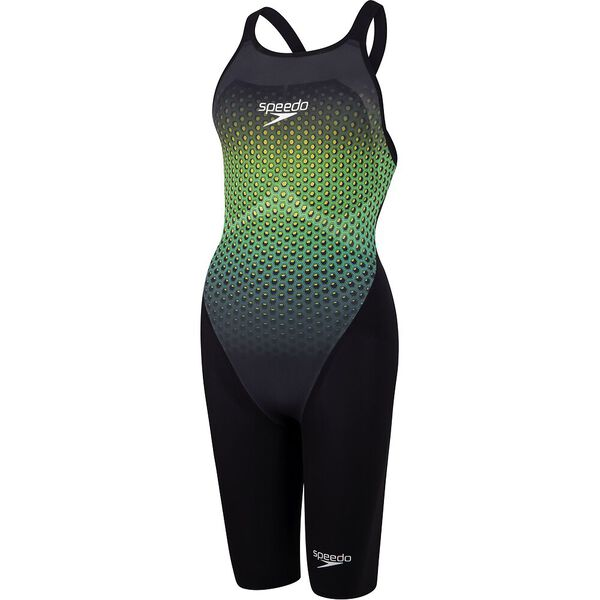 Womens Fastskin LZR Pure Valor Openback Kneeskin, Black/Fluo Yellow/Jade, hi-res