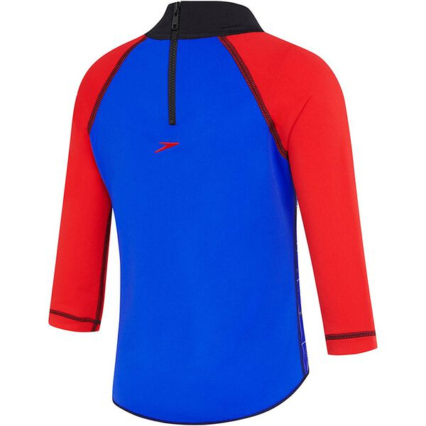 TODDLER BOYS SPEEDO JET LONG SLEEVE SUN TOP, USA Red/Speedo Jet, hi-res