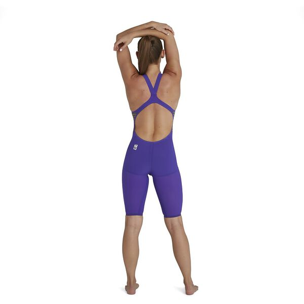 Womens Fastskin LZR Pure Valor Openback Kneeskin, Violet/Fluo Yellow/Black, hi-res