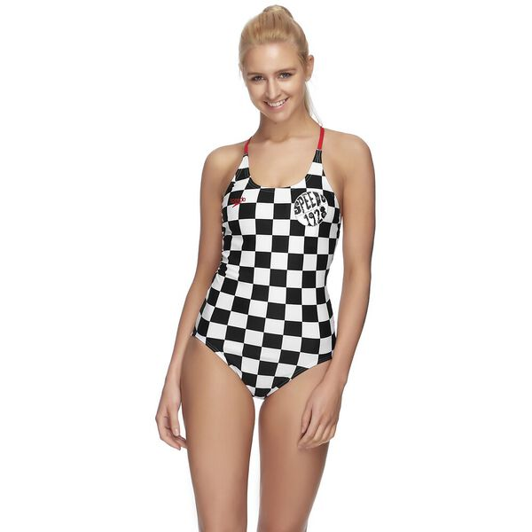 WOMENS LOOPBACK ONE PIECE, CHECKERBOARD/SPORT RED, hi-res