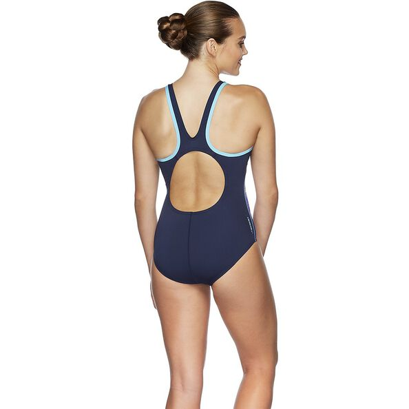 WOMENS MUSCLEBACK ONE PIECE, EXPLOSION/SP NVY/TURQ, hi-res