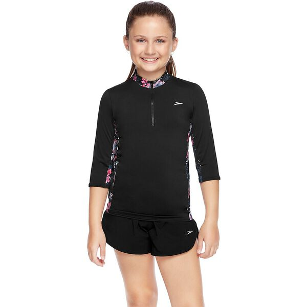 GIRLS 3/4 SLEEVE HALF ZIP RASHIE, Black/Bliss, hi-res