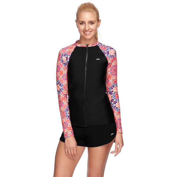 WOMENS END 10 ZIP UP LONG SLEEVE SUN TOP, EUPHORIA/BLACK, hi-res