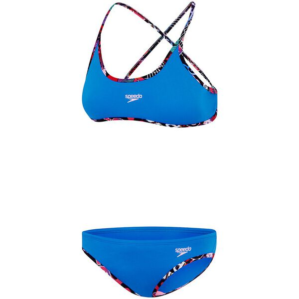 GIRLS TIE TWO PIECE SET, Cadet Blue/Girl Power, hi-res