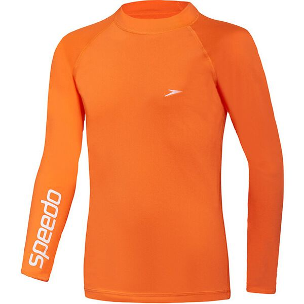 BOYS SAFETY LONG SLEEVE SUN TOP, Fluro Orange, hi-res