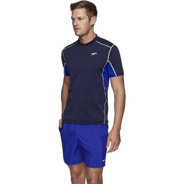 Mens Tech Short Sleeve Sun Top, Speedo Navy/Speed/Zest, hi-res