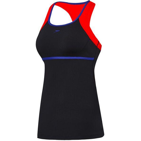 WOMENS CROSS TRAINER POWER TANK, Black/Fiesta/Ultramarine, hi-res