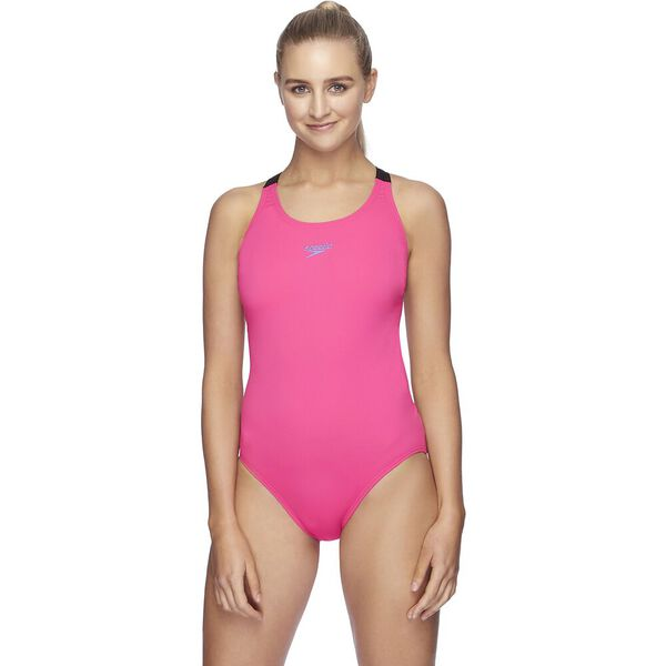 Womens Endurance+ Leaderback One Piece, Neon Pink/Black, hi-res