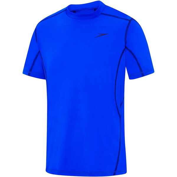 MENS TECH SHORT SLEEVE SUN TOP, Beautiful Blue/Speedo Navy, hi-res