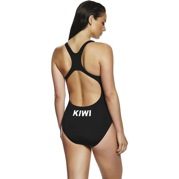 WOMENS KIWI ONE PIECE, Black/Silver, hi-res