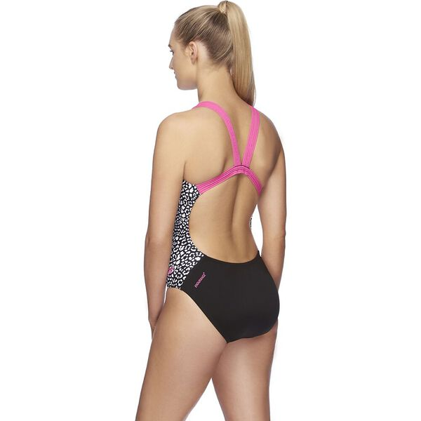 Womens Two Tone Leaderback One Piece, Neon Pink/Leopard/Black, hi-res