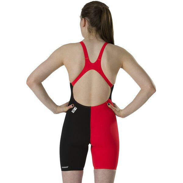 GIRLS FASTSKIN JNR END+ OPENBACK KNEESKIN, BLK/LAVA RED, hi-res